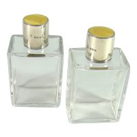 Pair Of English Silver Guilloche Enamelled Art Deco Perfume/Scent Bottles, 1936.