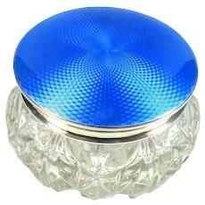 Impressive Sterling Silver Guilloche Enamelled Top Glass Jar, 1931.
