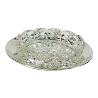 Vintage Sterling Silver And Cut Glass Butter Dish, 1934.