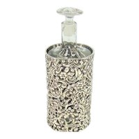Antique Sterling Silver And Glass Scent/Perfume Bottle, 1901.