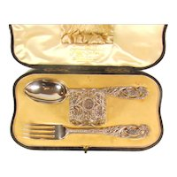 Victorian Sterling Silver Christening Set, 1900.