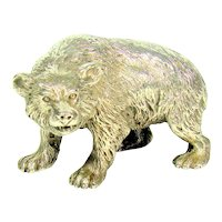 Impressive Antique Cast Sterling Silver Bear, 1902.