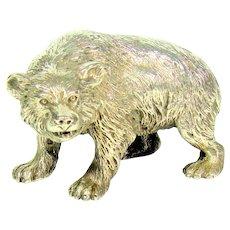 Impressive Antique Cast Sterling Silver Bear, 1902.