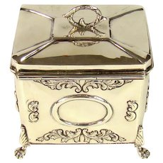 Good Quality Antique Sterling Silver Tea Caddy, 1907.