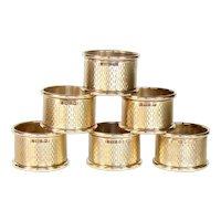 Vintage Set Of Six Sterling Silver Napkin Rings, 1968.