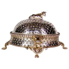 Victorian Silver Plated Butter Dish.