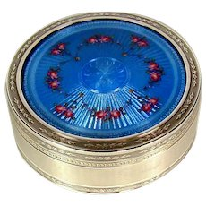 Attractive Antique Sterling Silver Enamelled Box, 1906.