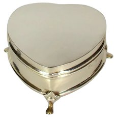 An Antique Heart Shaped Silver Jewellery Box, 1909.
