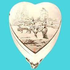 Antique Silver Jewellery Box Celebrating A Wedding, 1905.