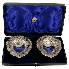Antique Pair Of Sterling Silver Bon Bon Dishes, 1894.