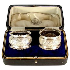 Pair Of Victorian Sterling Silver Napkin Rings, 1900.