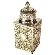 Antique Sterling Silver Tea Caddy, 1891
