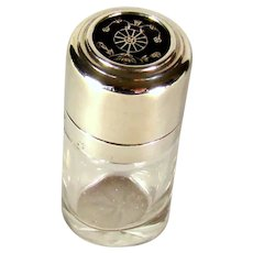 Antique Sterling Silver And Pique Topped Scent/Perfume Bottle, 1913.