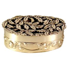 Antique English Silver Pierced Lidded Box Of Holly Leaves , 1909.