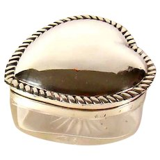 Victorian English Silver Lidded Heart Shaped Glass Box, 1887.