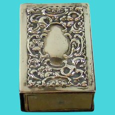Victorian Sterling Silver Match Box Holder, 1900.