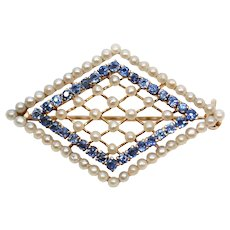 Edwardian 14k Gold, Pearl and Sapphire Brooch