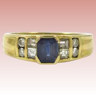 Emerald Cut Sapphire and Diamond 18K Gold Ring