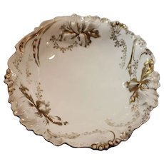 R.S. Germany Porcelain Capodiamonte Iris Pattern Fruit Bowl