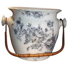 Blue and White Floral Painted Antique Porcelain Waste Basin