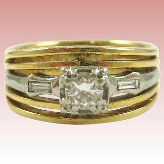 Custom Diamond, Yellow 14K Gold, and Platinium Ring