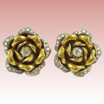 18K White, Yellow Gold, and Diamond Earrings