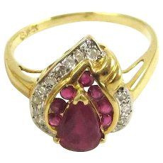 Pear Cut Ruby and Diamond 14K Gold Ring