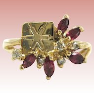 Ruby and Diamond 14K Gold Ring with Snowflake Stamp