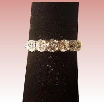 Five Diamond and 14k White Gold Wedding Band