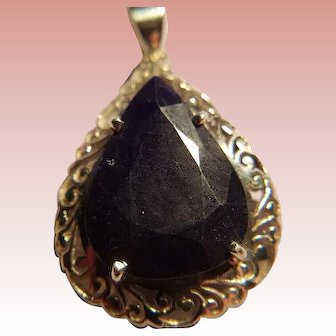 Natural  Pear Shape Sapphire and Sterling Silver Pendant