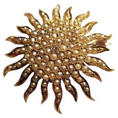 Antique 14k gold, Diamond and Pearl Sunburst Brooch/Pendant