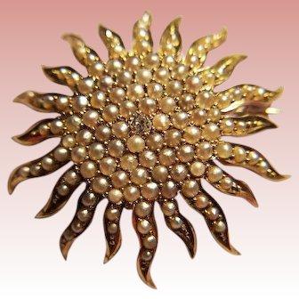 Antique 14k gold, Diamond and Pearl Sunburst Brooch/Pendant
