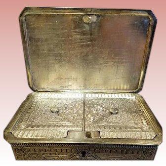 Edwardian Era Pewter two Compartment Tea Caddy