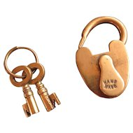 Small brass Victorian padlock with keys, heart shaped, hand made