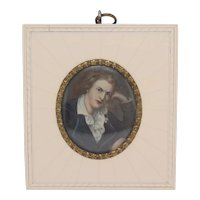 Miniature portrait of Friedrich Schiller, Empire Style, Watercolors on faux ivory