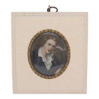 Miniature portrait of Friedrich Schiller, Empire Style, Watercolors on faux ivory