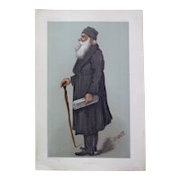 "Lev Tolstoy, Vanity Fair chromolithograph caricature, 1901. ""War & Peace"", signed Snapp in the plate."