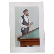 "Billiards player (John Roberts), Vanity Fair chromolithograph caricature, 1905. ""Man of the Day"", signed Spy in the plate."