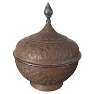 Persian-Anglo/Raj-Moghul brown brass container decorated with low relief foliage