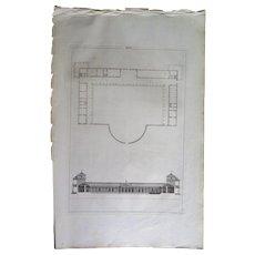 Antique Architectural Print (1721), Andrea Palladium Villa by John Harris the Helder