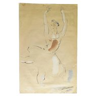 Gerard Hordyk, a Ballerina, Ink and Watercolor on Paper, Mid-Century
