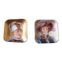 Good Pair of Hand Painted Pin Dishes, end 1800s