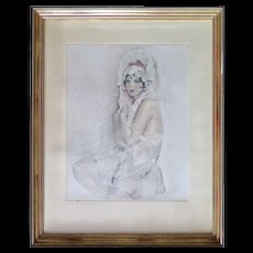 French Etching, Woman, End 1800 to Early 1900s