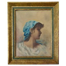 "Oil on Canvas, ""Woman with Blue Headscarf"", in Original Frame, Mid Century"