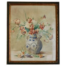 Antique French Watercolor, Flowers in Asian Vase, Framed and Glazed, early 1900s.