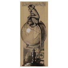 "Original antique ink drawing by Theodor Grätz, XIX Century, signed, framed, ""Der Kluge Affe"" (The smart monkey), Germany, published"