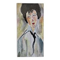 "Ceramic Tile, from the painting ""Woman in Black Tie"" by Modigliani, Mid Century"