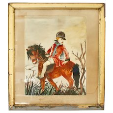 "Watercolor ""Horseman"", Signed E Iweins, Framed and Glazed, Flemish, 1961"