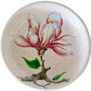 Longwy French Faience Pink Vide Poche Dish with Magnolias, 1930s