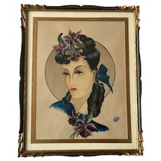 Original French Watercolor, Lady's Hairdo by Esther Lacroix, 1940s